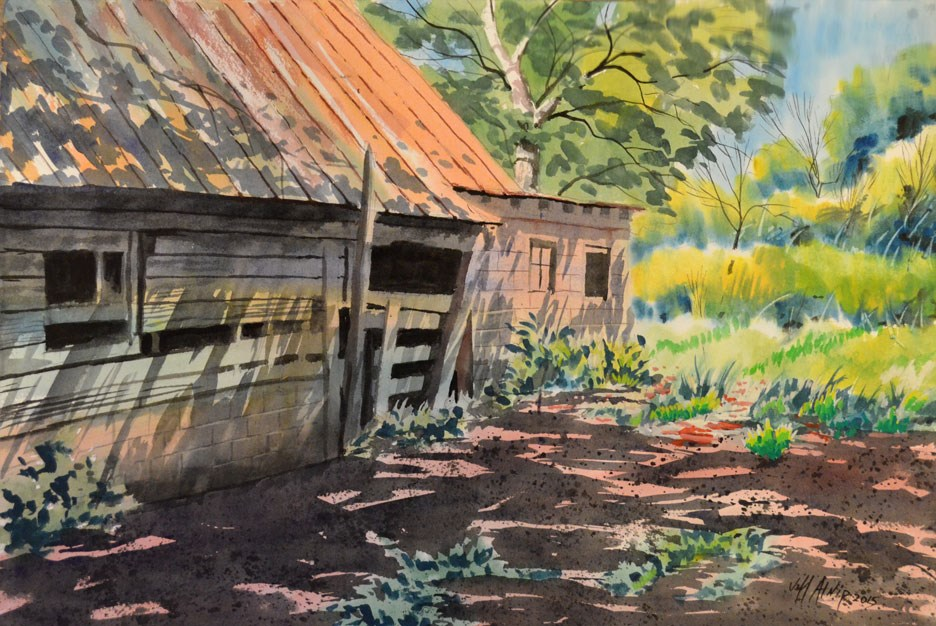 """Shed Behind The Barn"" original fine art by Jeff Atnip"
