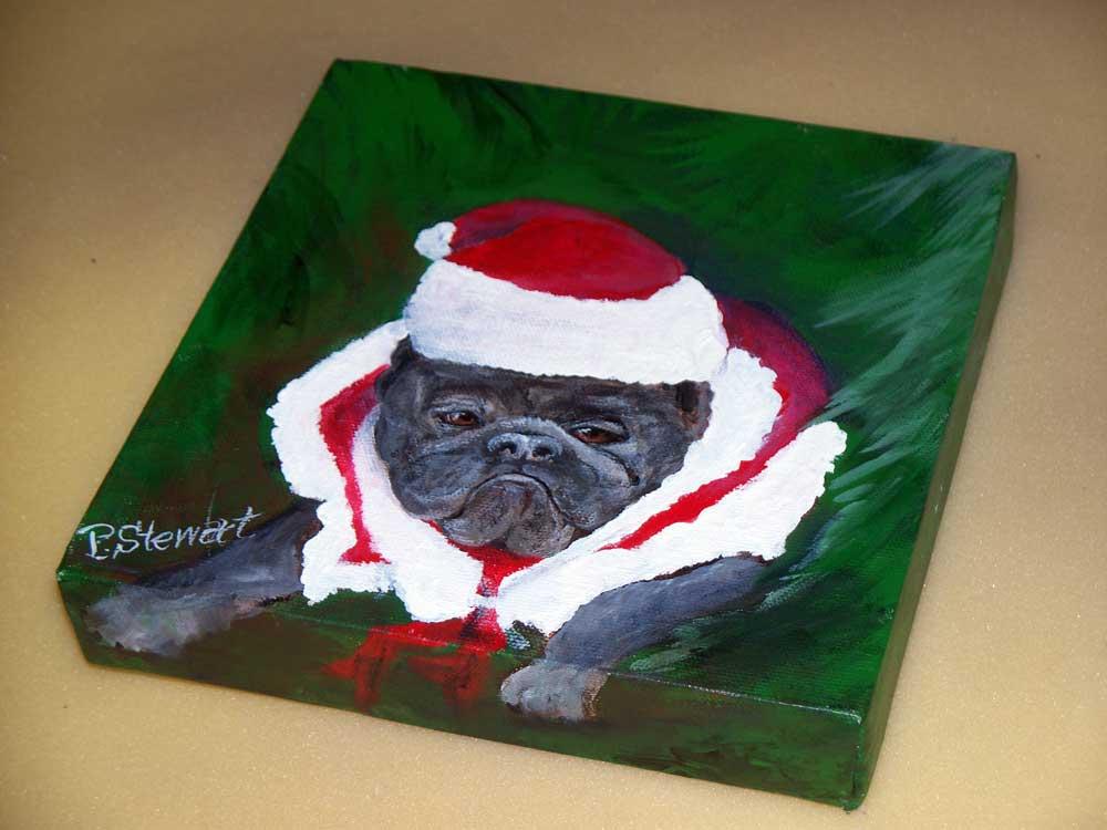 """Bah Humbug!  French Bulldog with Santa Hat."" original fine art by Penny Lee StewArt"