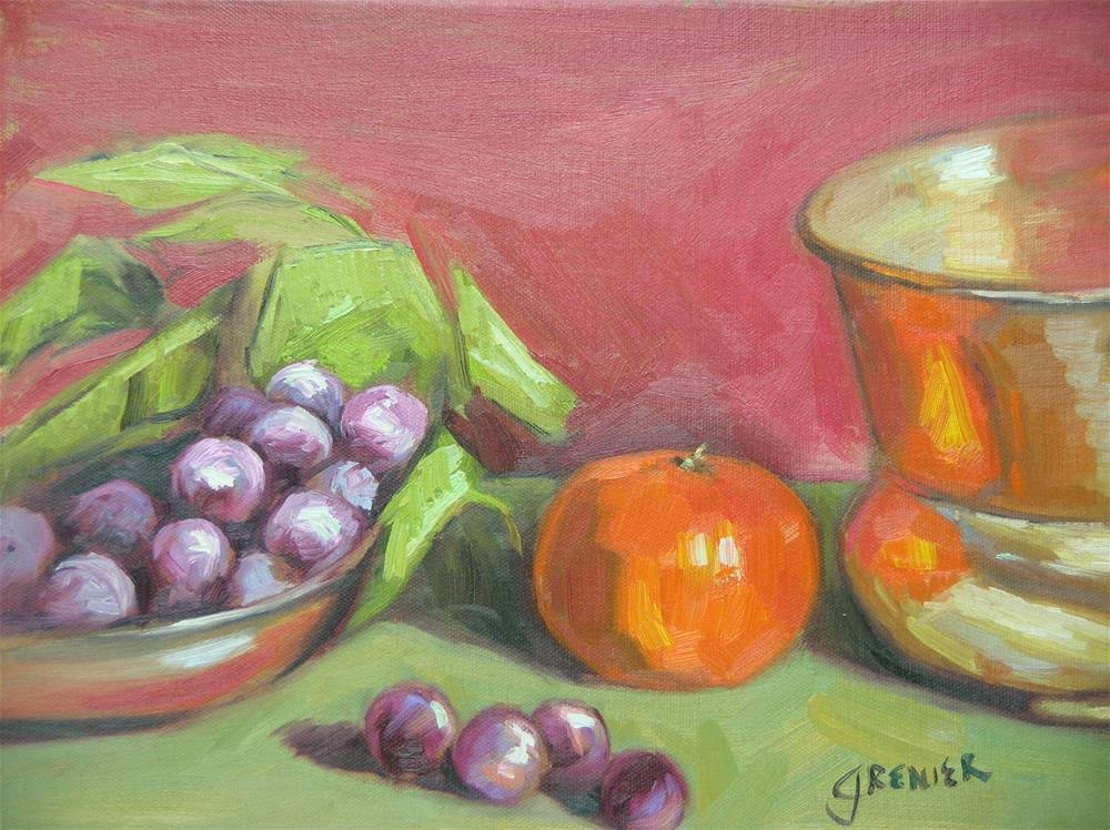 """Copper Bowl with Fruit"" original fine art by jean grenier"