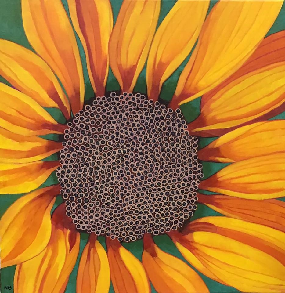 """""""From the Center: Sunflower"""" original fine art by Rebecca Ives"""