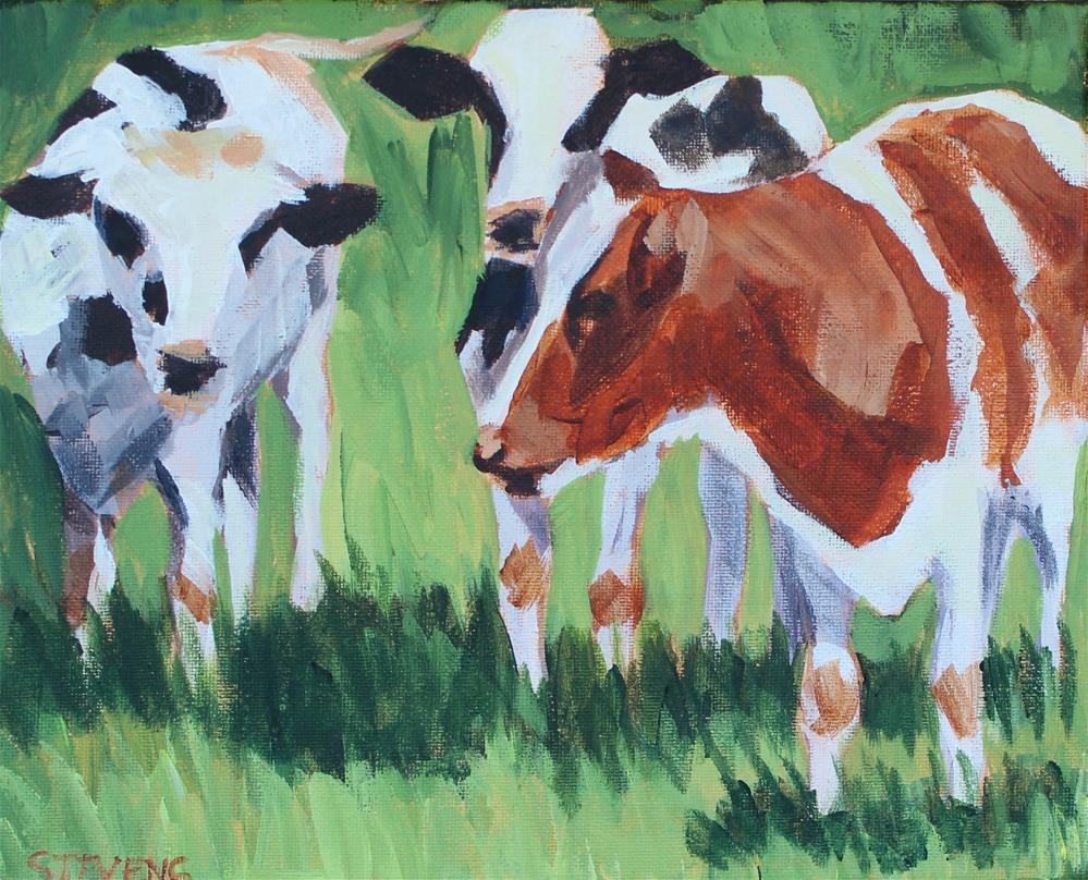 """Cow Friends"" original fine art by Jamie Stevens"