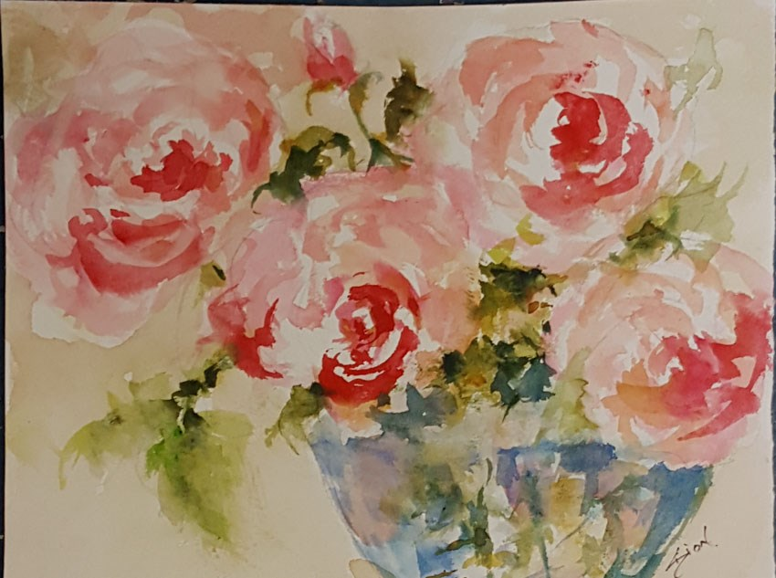 """Morning Roses"" original fine art by Sue Dion"