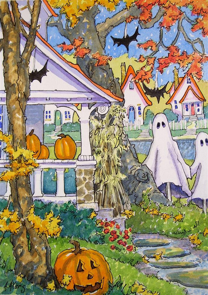 """Always the First on the Block a Storybook Cottage Halloween"" original fine art by Alida Akers"