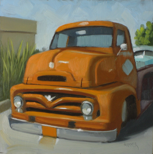 """1955 Ford Truck 6x6 oil"" original fine art by Claudia Hammer"