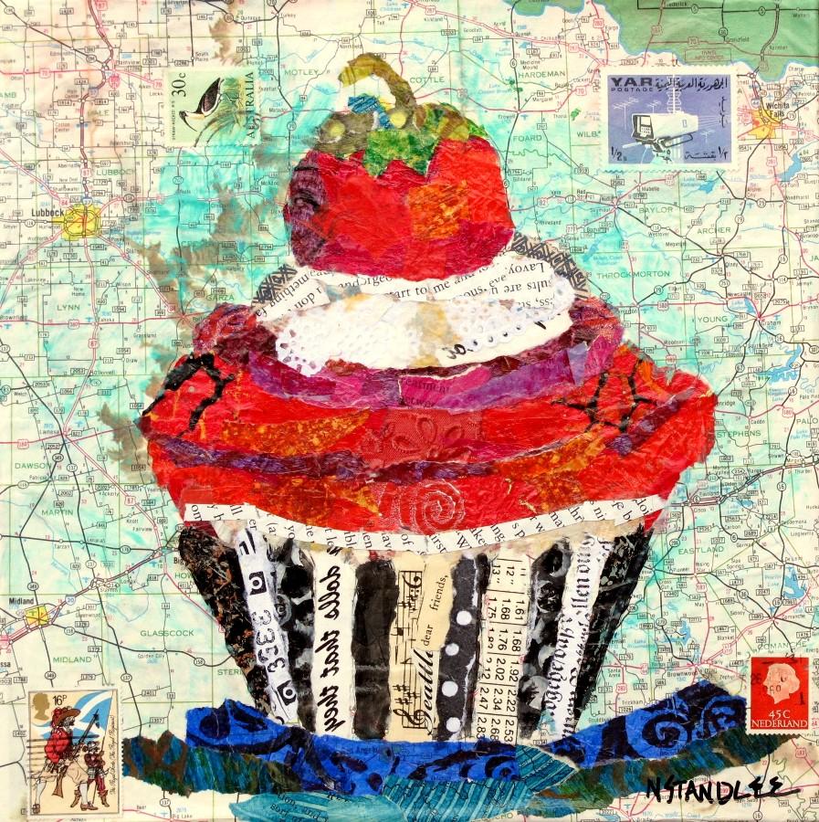 """Dear Friends Cupcake Collage 11097"" original fine art by Nancy Standlee"