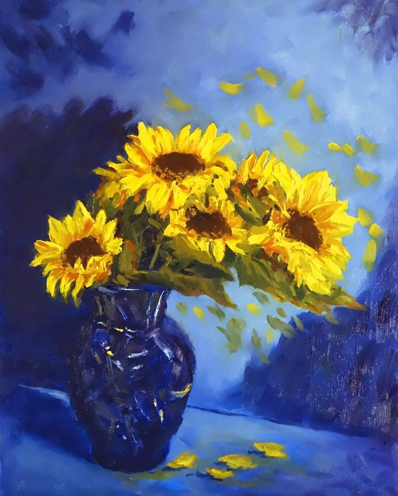 """""""Sunflowers in Blue Vase II"""" original fine art by Daniel Fishback"""