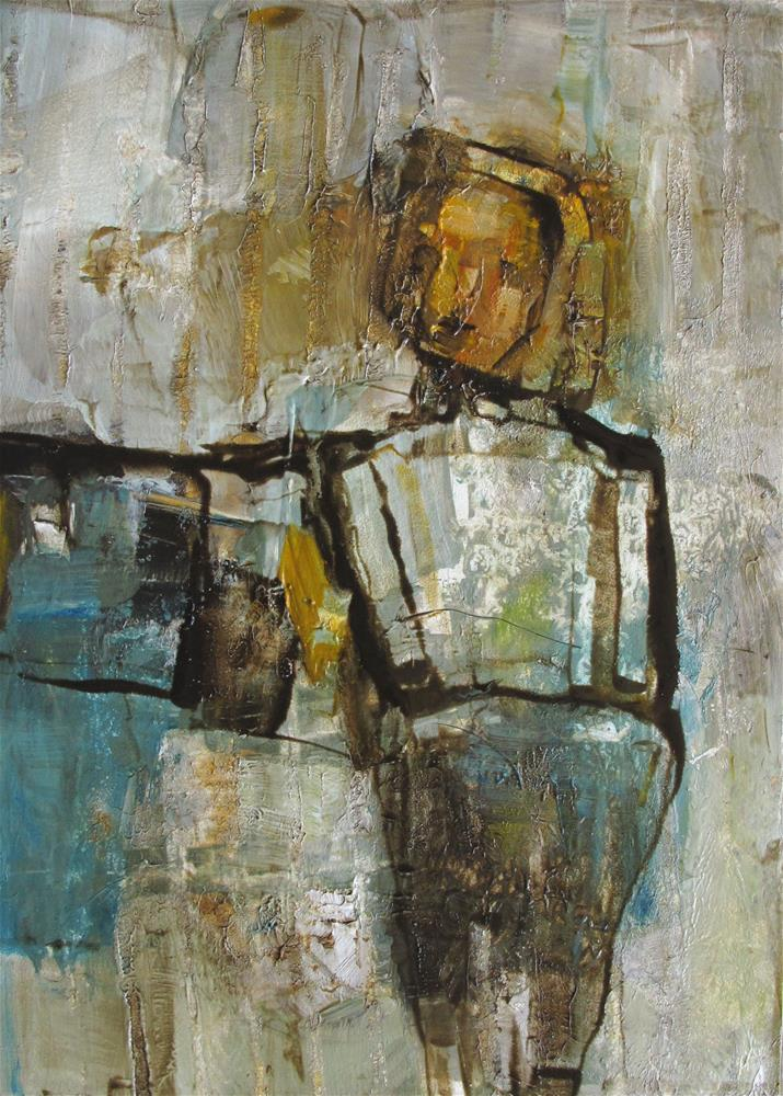 """""""IN the SPOTLIGHT - ABSTRACT Figure Expressionism"""" original fine art by Colette Davis"""