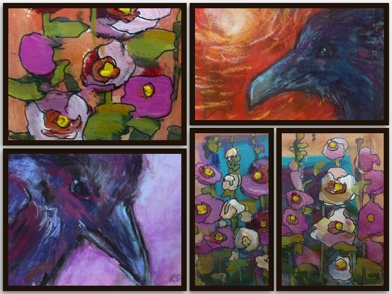 """Raven and Hollyhock aceo paintings"" original fine art by Karen Margulis"