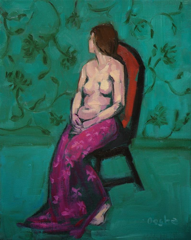 """Nude in Fuchsia Sarong"" original fine art by Angela Ooghe"