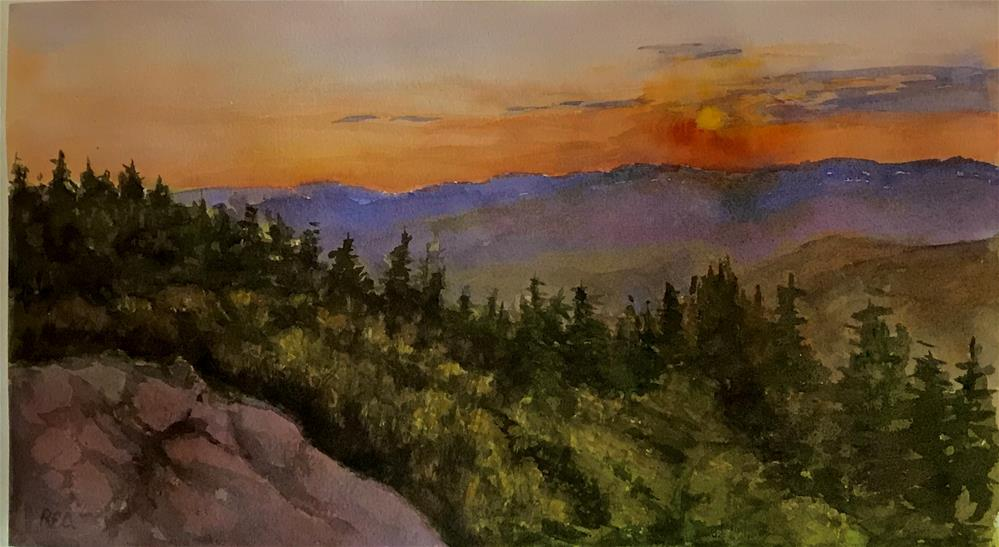 """Sun rise on the mountain top in the Adirondacks"" original fine art by Betty Argiros"