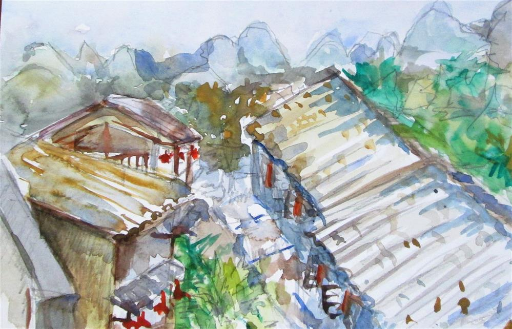 """""""Roof Tops"""" original fine art by Delilah Smith"""