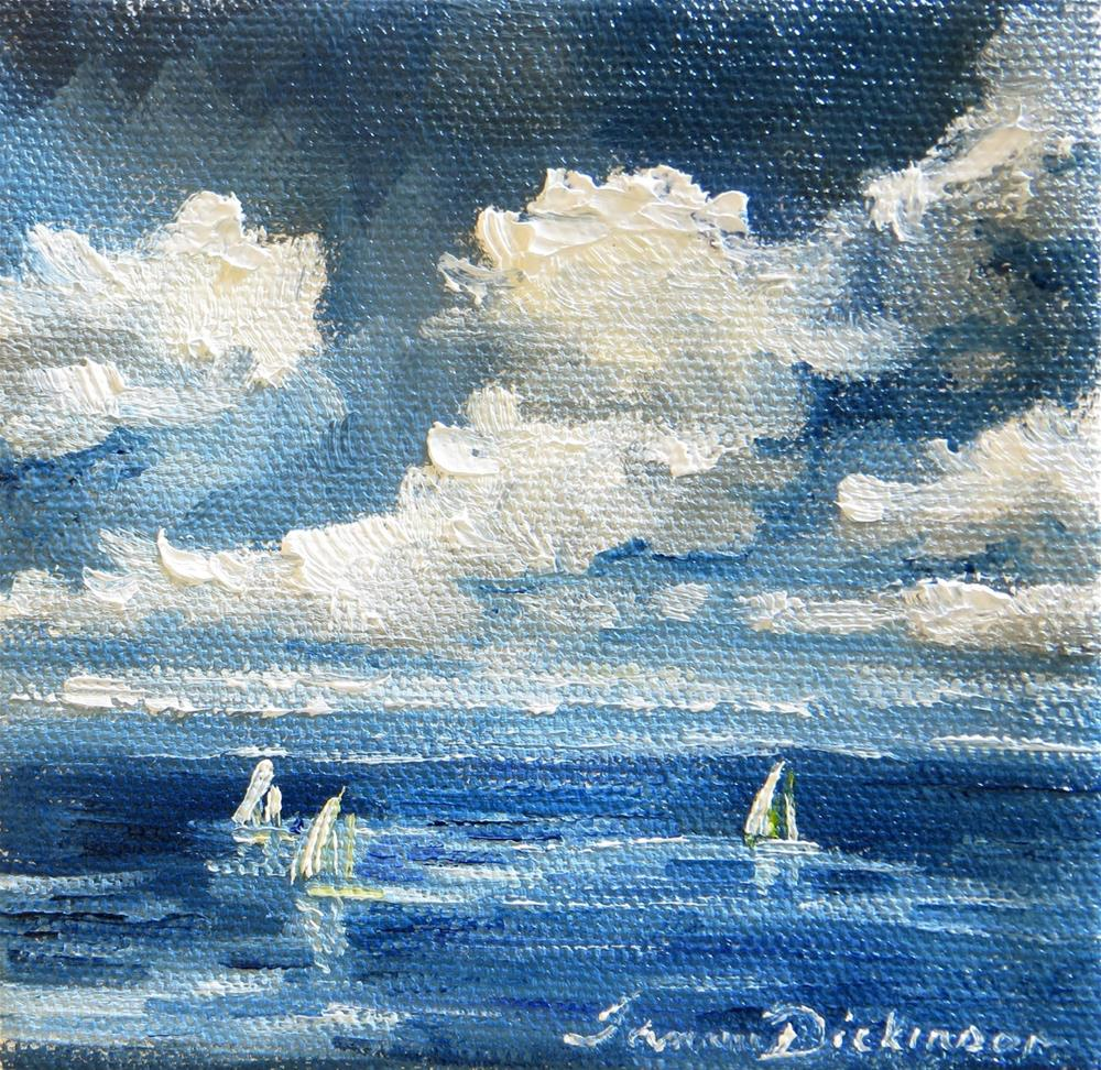 """""""Sailboats on Blue Water"""" original fine art by Tammie Dickerson"""
