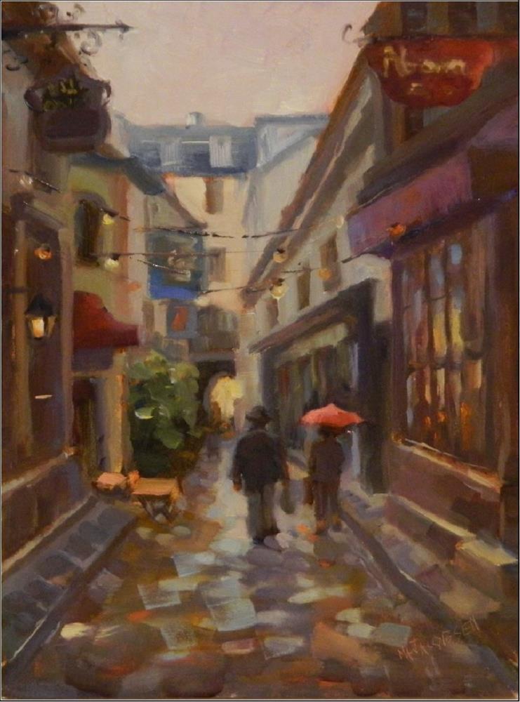 """""""Red Umbrella, oil on board, Paris, cityscape, small streets, LAtin Quarter, impressionism, alla pr"""" original fine art by Maryanne Jacobsen"""