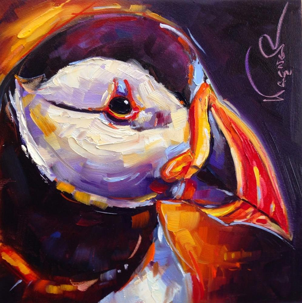 """""""Loving Color Day 19- ORIGINAL PUFFIN BIRD PAINTING in OILS by OLGA WAGNER"""" original fine art by Olga Wagner"""