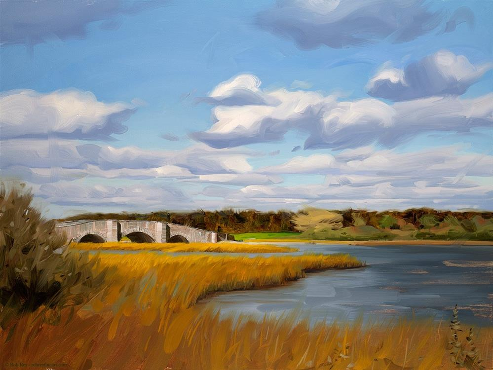 """Sun on the Old Stone Bridge"" original fine art by Rob  Rey"