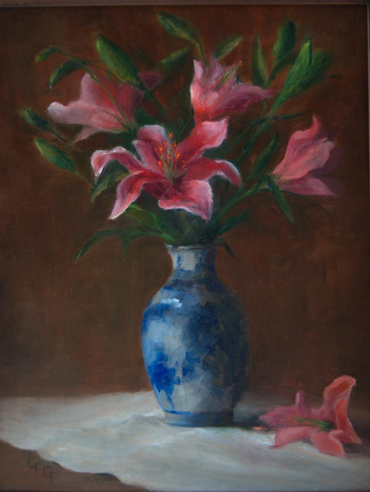 """""""Lilies"""" original fine art by G. G. Slockett"""