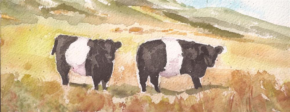 """""""Belted Galloways, Westcliffe, Colorado"""" original fine art by Jean Krueger"""