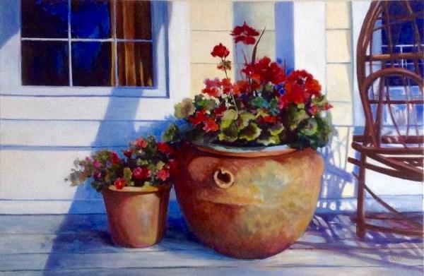 """""""Deckside Geraniums"""" original fine art by Cathy Boyd"""