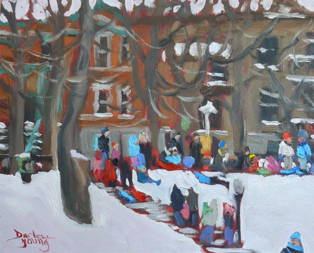 """781 Parc LaFontaine, Montreal Winter Scene"" original fine art by Darlene Young"