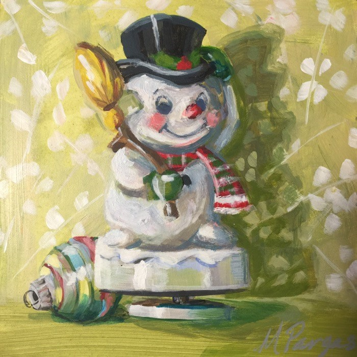 """""""Frosty Musical Figurine"""" original fine art by Mary Pargas"""