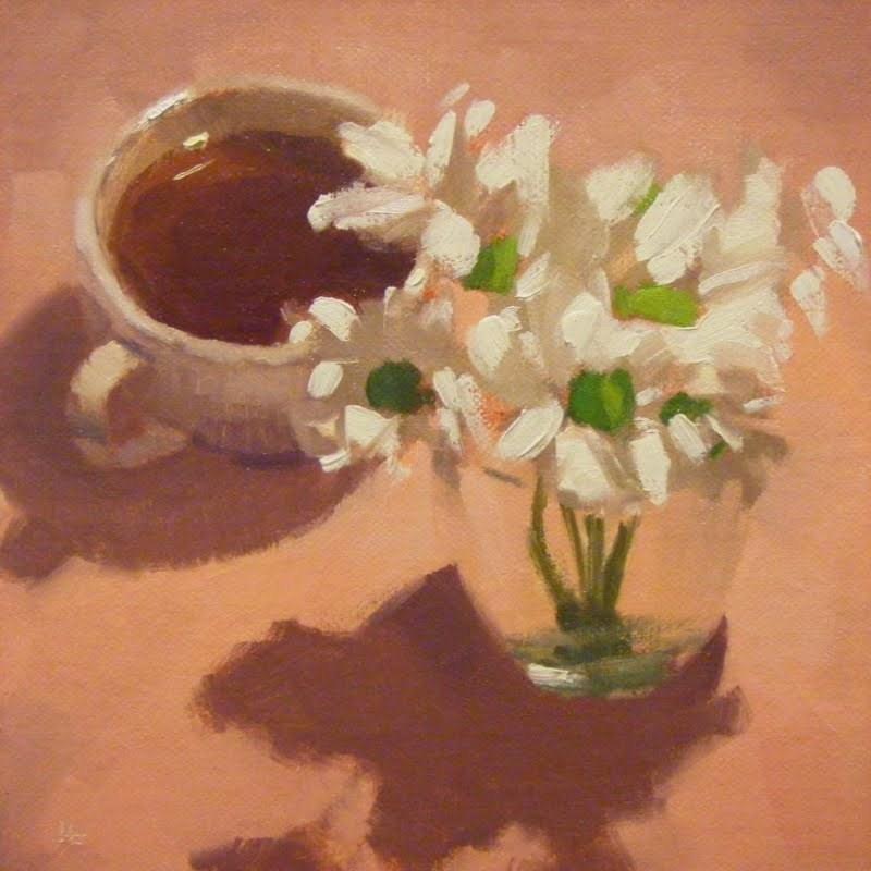 """""""COFFEE 'N DAISIES"""" original fine art by Helen Cooper"""