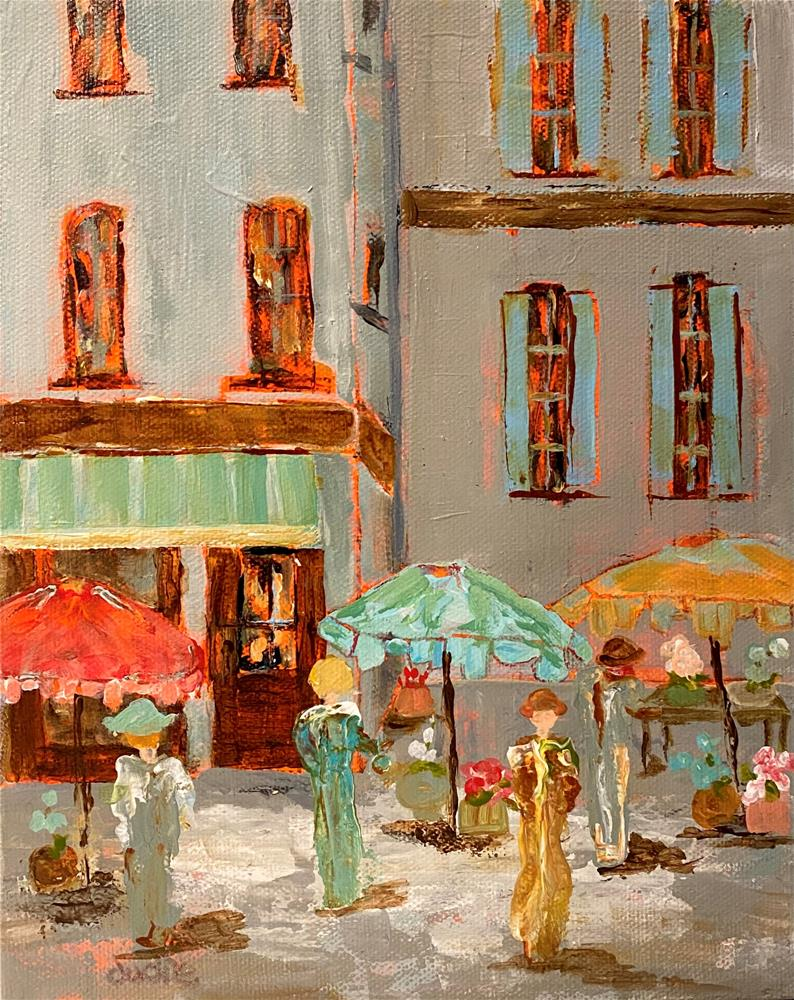 """FRENCH MARKET SHOPPING DAY"" original fine art by Judie Mulkey"
