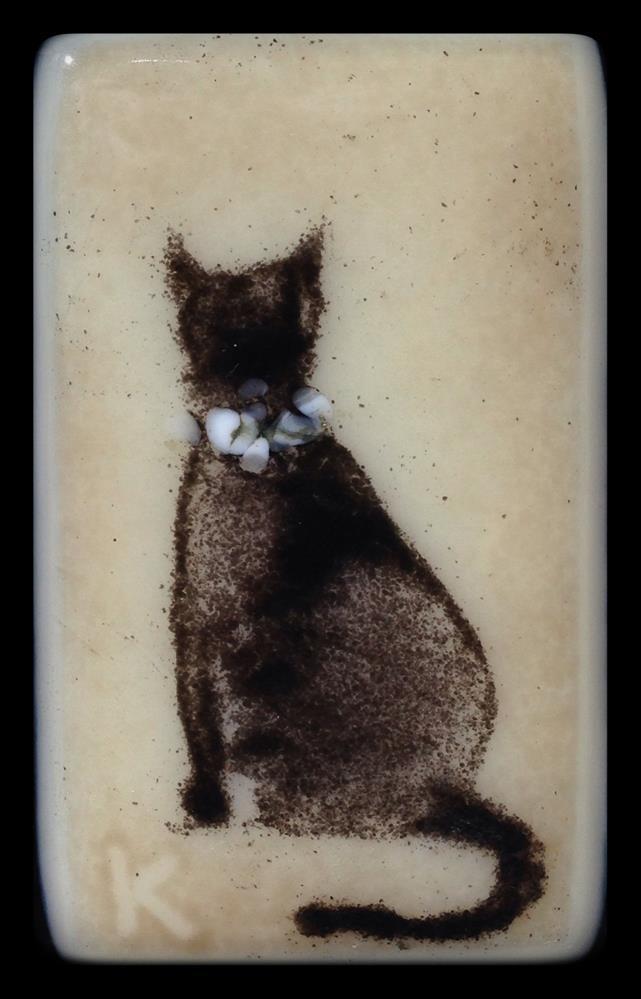 """Black Kitty with a Dogwood Collar"" original fine art by Kelly Alge"