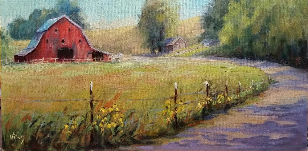 """Red Barn -en plein air"" original fine art by Veronica Brown"