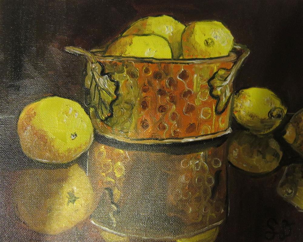 """Copper Bowl of Yellow Lemons"" original fine art by Samara Doumnande"