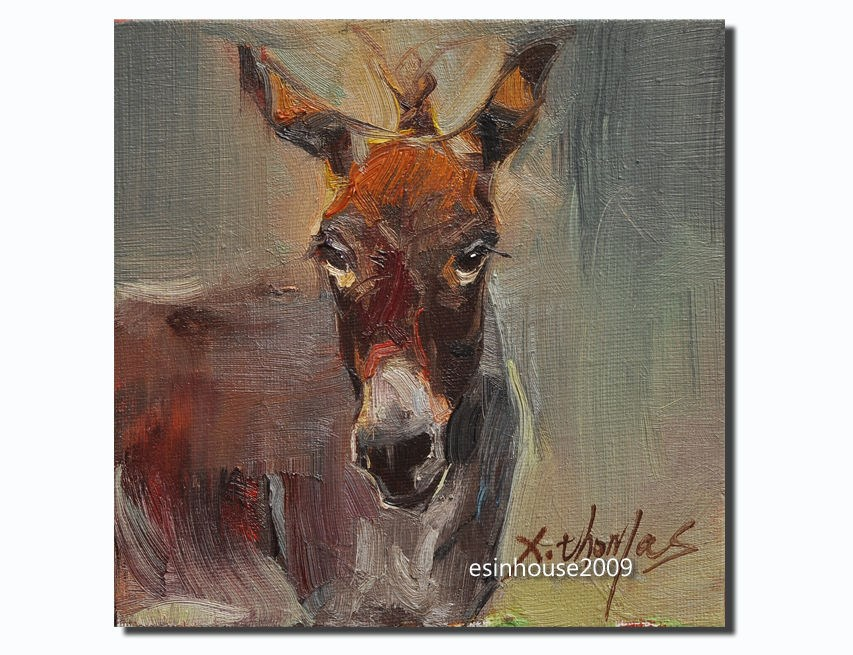 """donkey portrait Original oil Painting Farm animals Minimalist style canvas"" original fine art by Thomas Xie"