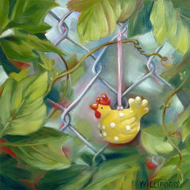 """""""The Kudzu Adventure  The Traveling Chicken visits GA"""" original fine art by Kathleen Williford"""