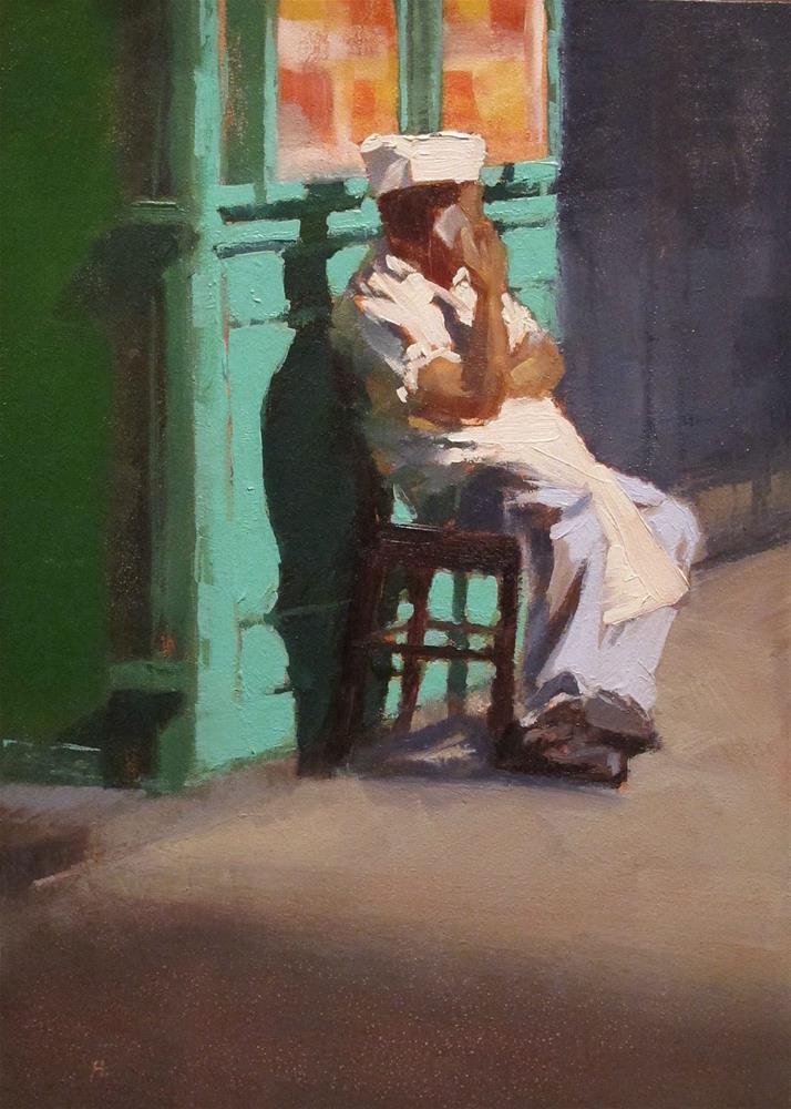 """""""Une pause, Le Marais, Paris"""" original fine art by Helen Cooper"""