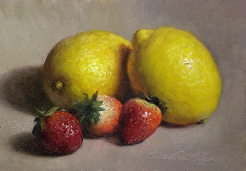 """Lemons and Strawberries"" original fine art by Debra Becks Cooper"