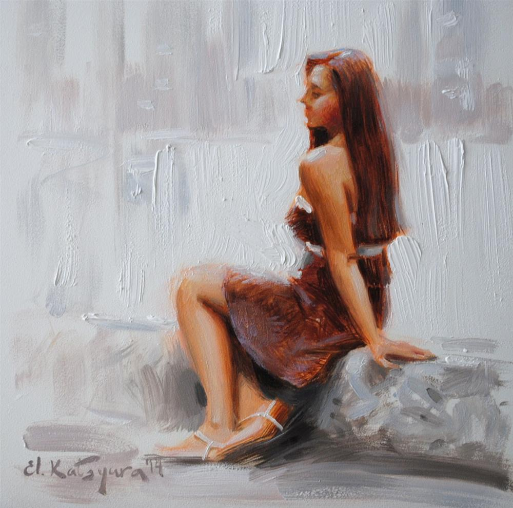"""Chocolate Dress"" original fine art by Elena Katsyura"
