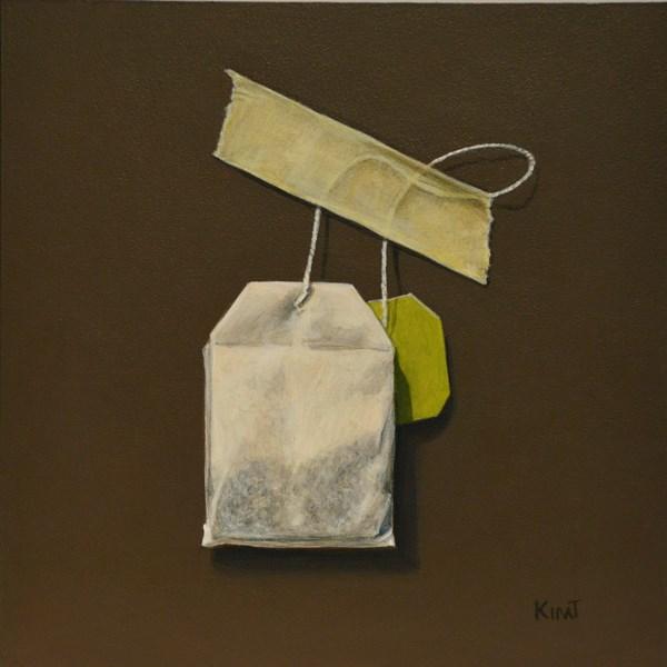"""Green Tea Bag in Acrylic"" original fine art by Kim Testone"
