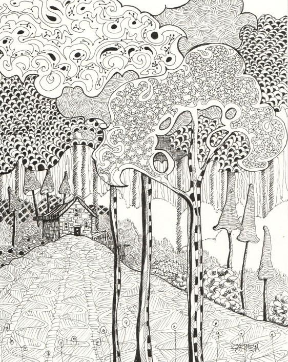 """Zentangle® Woodland, 8x10 Pen and Ink"" original fine art by Carmen Beecher"