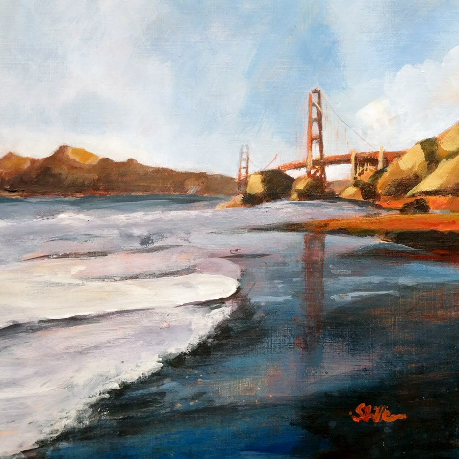 """1751 Golden Gate Beach"" original fine art by Dietmar Stiller"