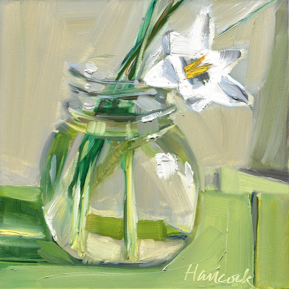 """White Crocus Round Glass Jar on Gray"" original fine art by Gretchen Hancock"