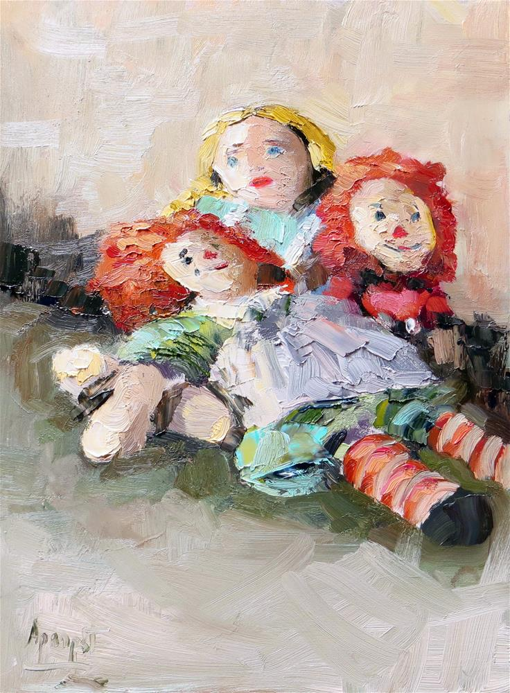 """Emily's Dolls"" original fine art by Anne Marie Propst"