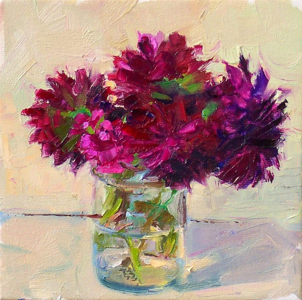 """Dahlias and Dianthus,still life,oil on canvas,6x6,price$200"" original fine art by Joy Olney"