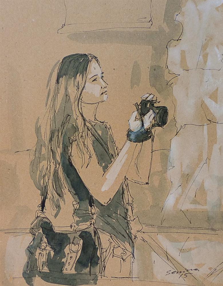 """Sketch. Girl with camera"" original fine art by Elena Senina"
