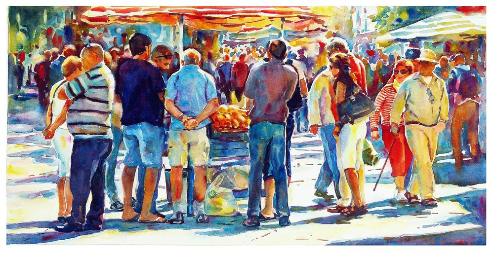 """Fruit stall"" original fine art by Graham Berry"