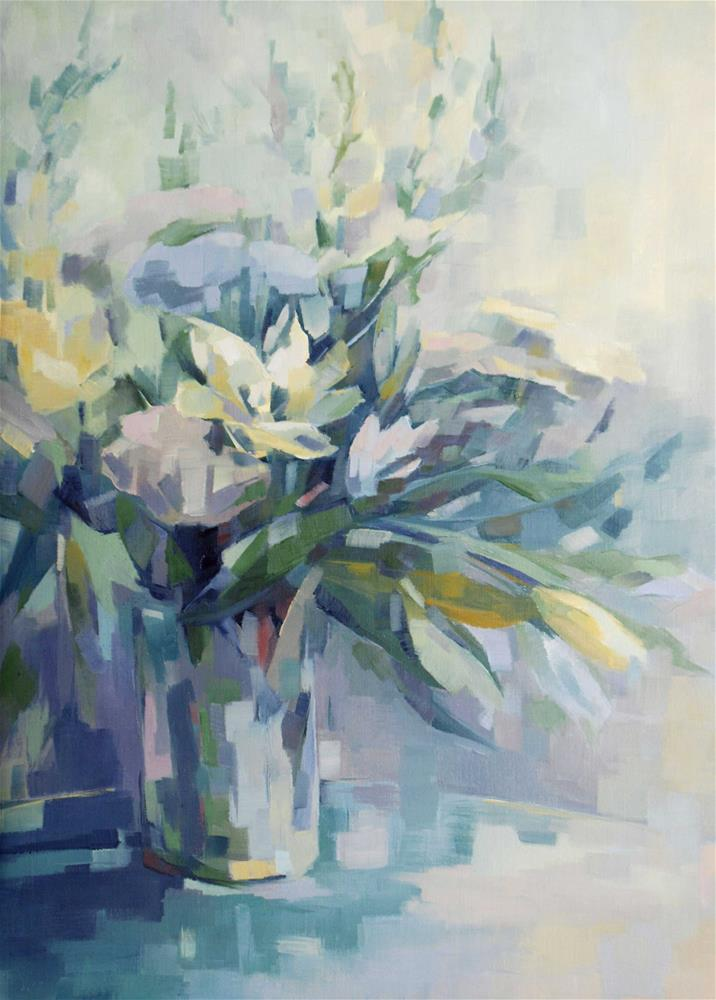 """bouquet of white lilies"" original fine art by Olga Touboltseva-Lefort"
