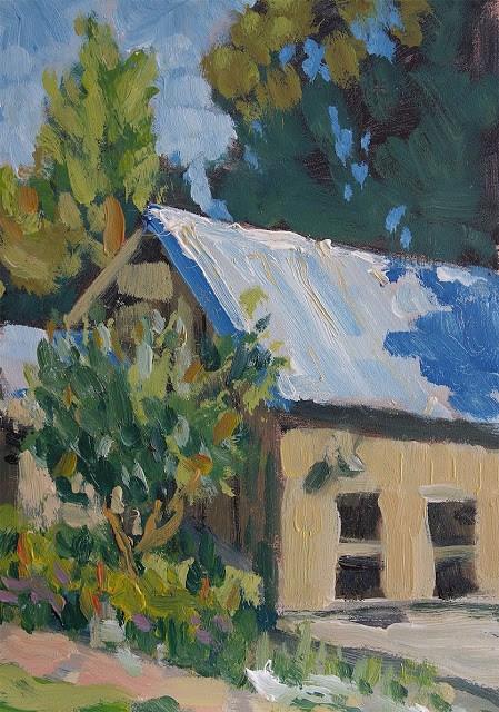 """Pool House"" original fine art by J. Farnsworth"