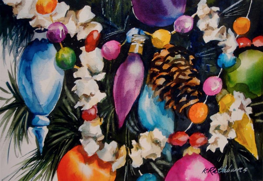"""Christmas Popcorn"" original fine art by Kathy Los-Rathburn"