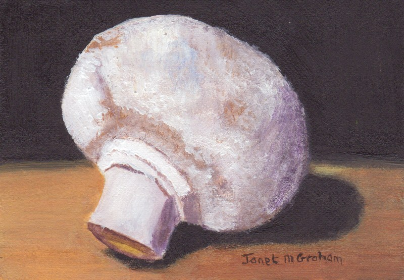 """Mushroom ACEO"" original fine art by Janet Graham"