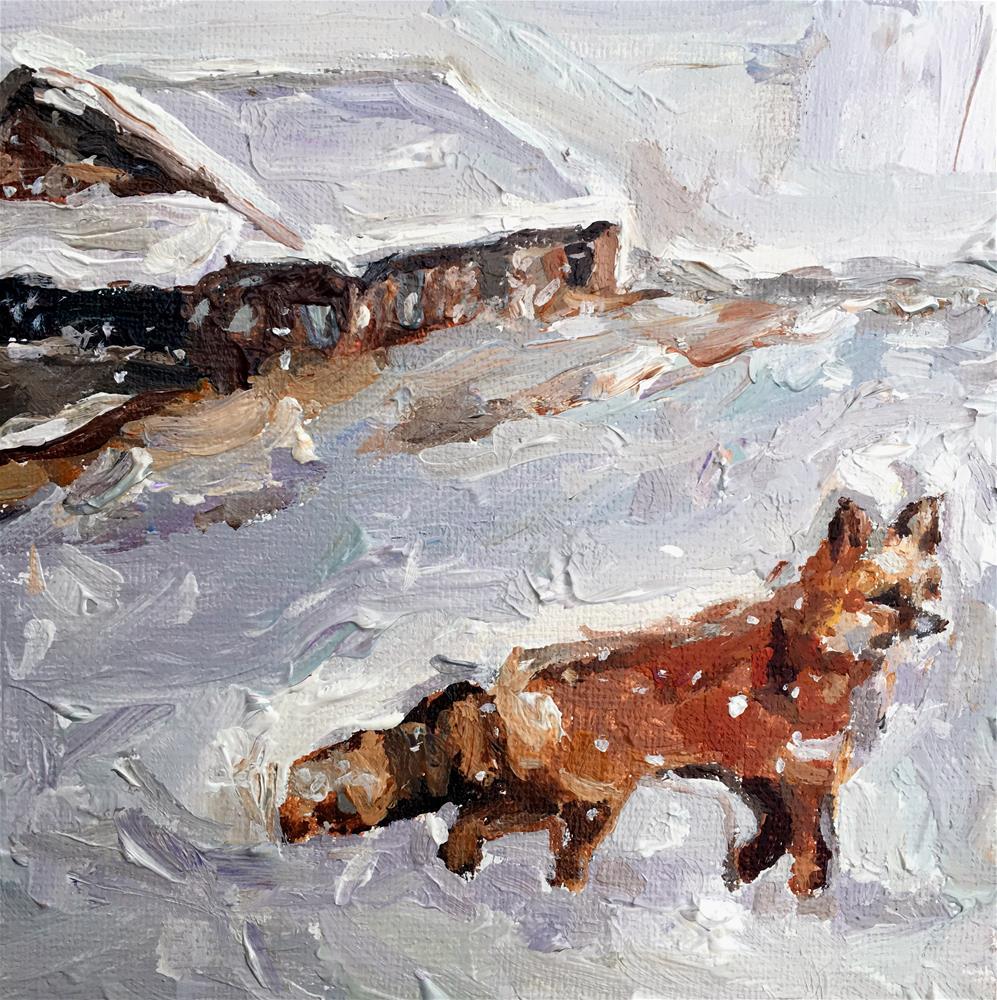 """Red Fox in Snowstorm"" original fine art by Nava Judith"