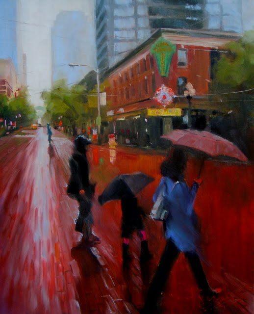 """""""Take me to Pike Place Seattle City oil painting"""" original fine art by Robin Weiss"""