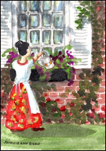 """Watering the Flowers"" original fine art by Patricia Ann Rizzo"