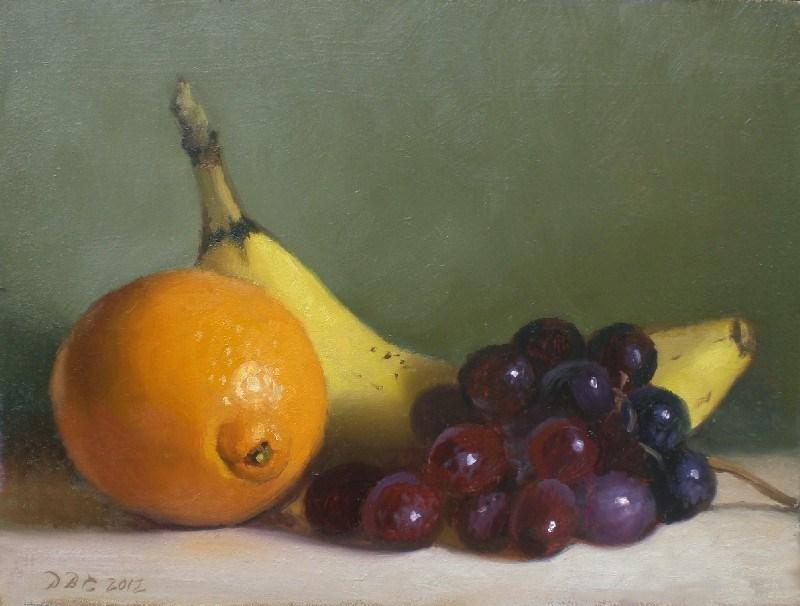 """Orange, Banana, Grapes"" original fine art by Debra Becks Cooper"
